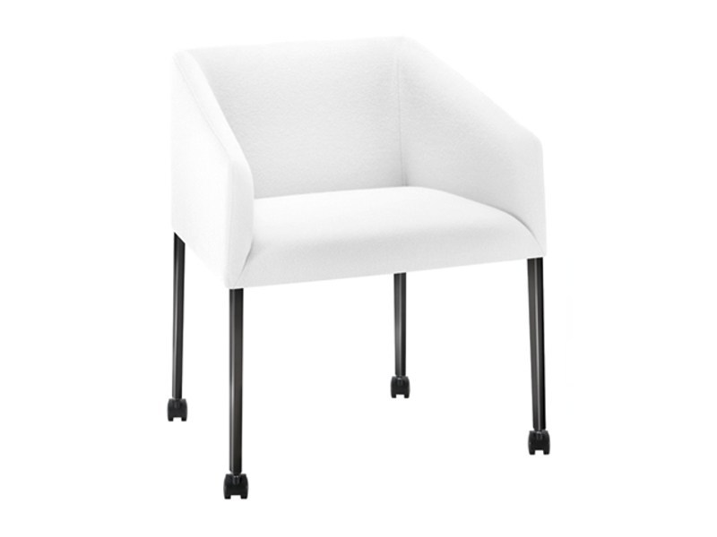 Upholstered easy chair with casters SAARI | Easy chair with casters - Arper