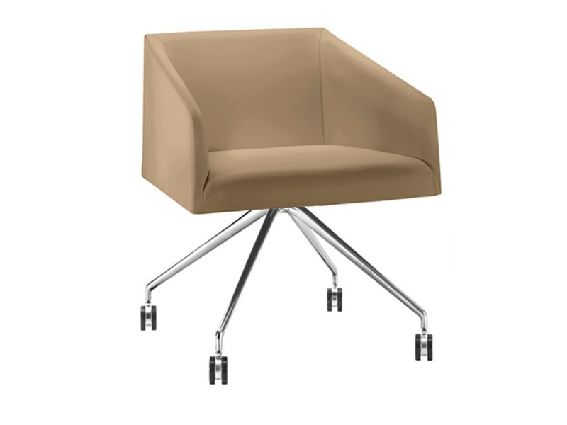 Trestle-based easy chair with casters SAARI   Trestle-based easy chair - Arper