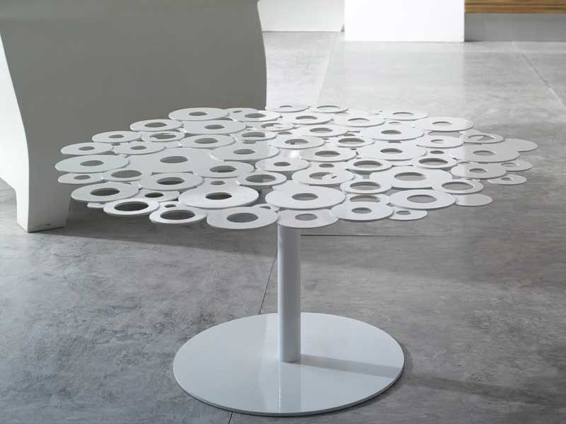Low round galvanized plate coffee table