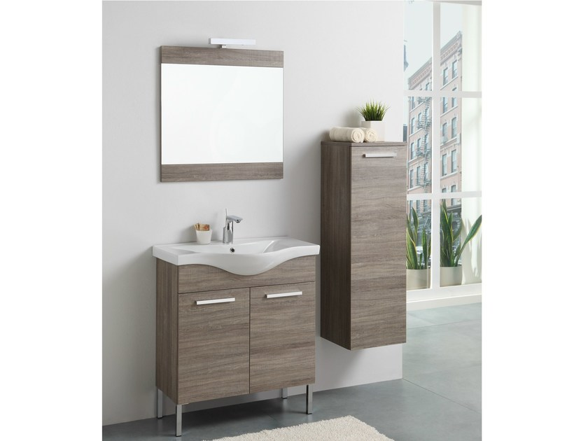Meuble sous vasque en bois avec portes tribeca 8 for Meuble bois sous vasque
