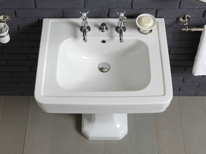 Rectangular pedestal ceramic washbasin 970 | Pedestal washbasin - BLEU PROVENCE
