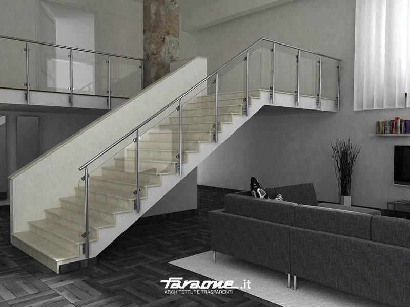 Baranda de aluminio para escaleras sky b by faraone for Escaleras de aluminio para interiores