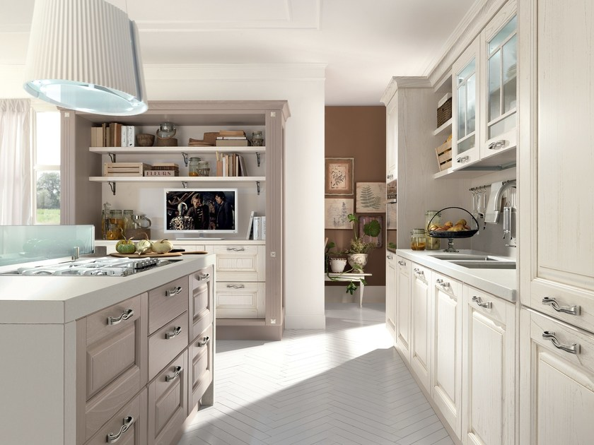 Cucina in legno con isola con maniglie laura cucina - Isola centrale per cucina ...