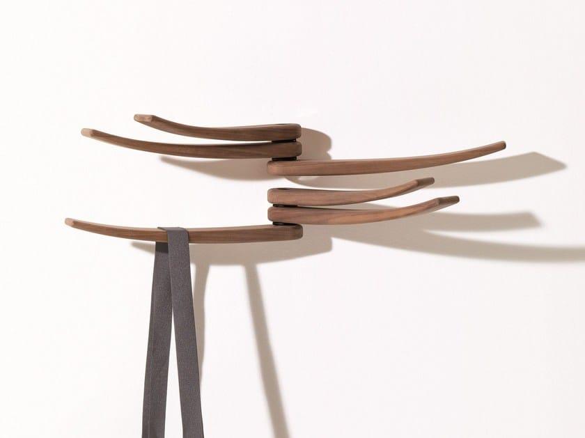 Wall-mounted walnut coat rack WING by arper
