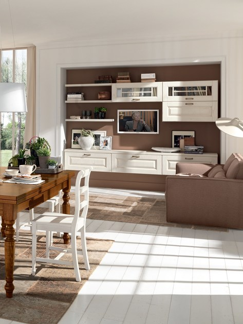 Parete attrezzata in legno laura parete attrezzata for Parete attrezzata cucina