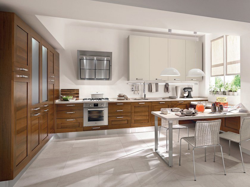 Walnut kitchen with handles GALLERY | Walnut kitchen - Cucine Lube