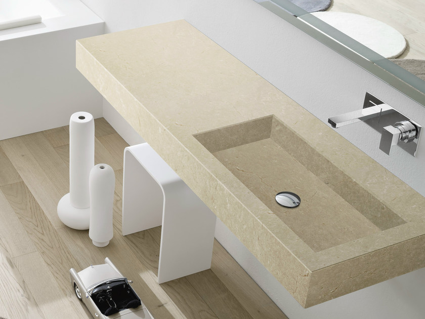 Rectangular wall-mounted washbasin with top