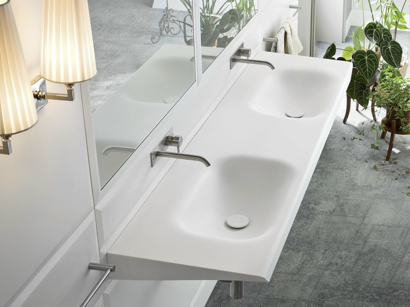 Double wall-mounted washbasin WARP | Double washbasin - Rexa Design