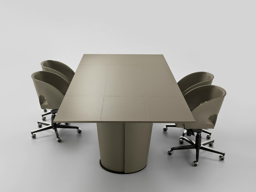 Rectangular tanned leather table