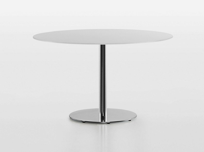 Round steel coffee table SLIM | Low coffee table - Plank