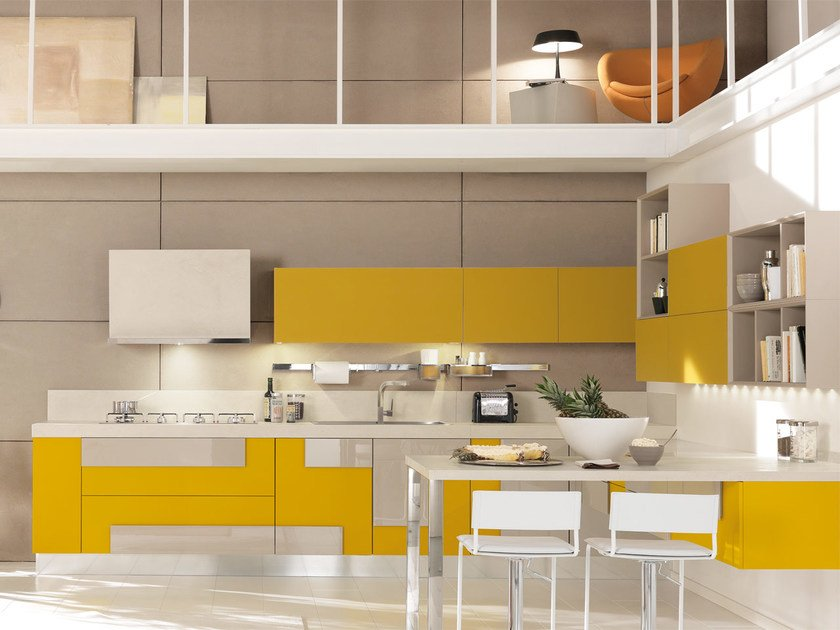 Lacquered fitted kitchen without handles CREATIVA | Kitchen by Cucine Lube