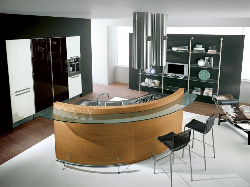 Katia ergonomic kitchen by cucine lube for Wooden fitted kitchen