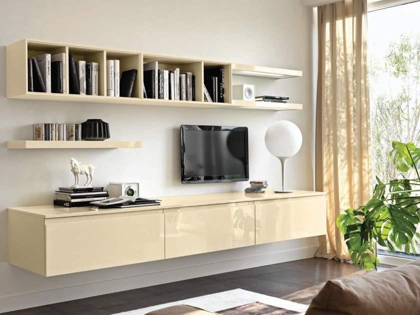 Sectional wall-mounted wooden storage wall