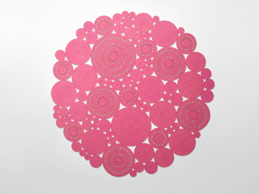 Solid-color handmade round rug