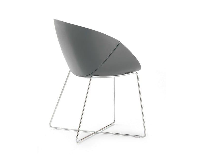 Sled base ergonomic polyurethane chair COQUILLE-T - DOMITALIA