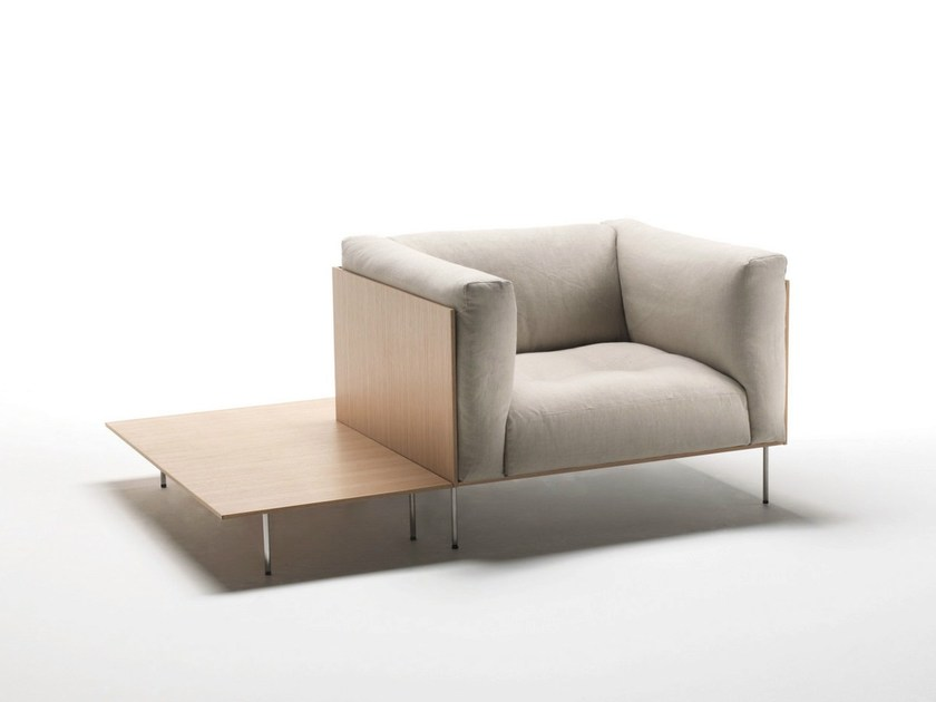 Upholstered fabric armchair with removable cover with armrests RODWOOD by Living Divani
