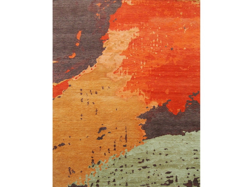 Handmade rectangular wool rug