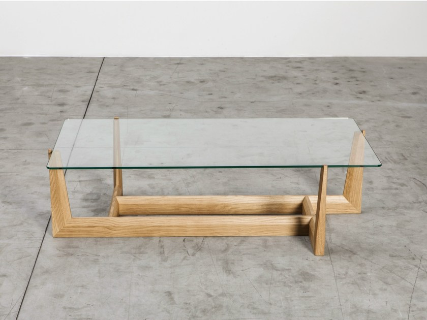 Low glass coffee table GAUDO | Rectangular coffee table - Miniforms