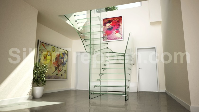 Self supporting Glass and Stainless Steel Open staircase with lateral stringers ALL GLASS LOW IRON | Glass and Stainless Steel Open staircase - Siller Treppen
