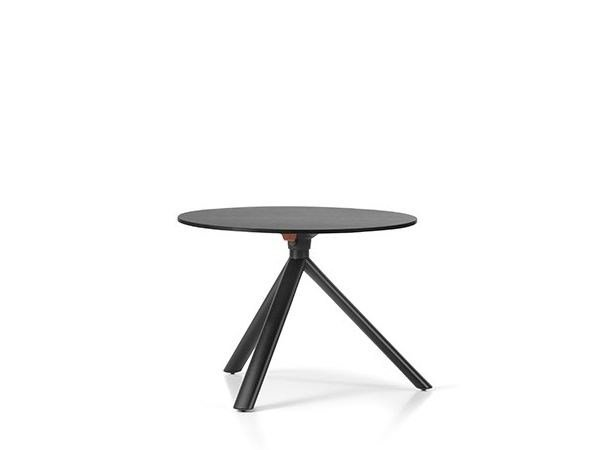 Folding round steel coffee table MIURA | Round coffee table - Plank