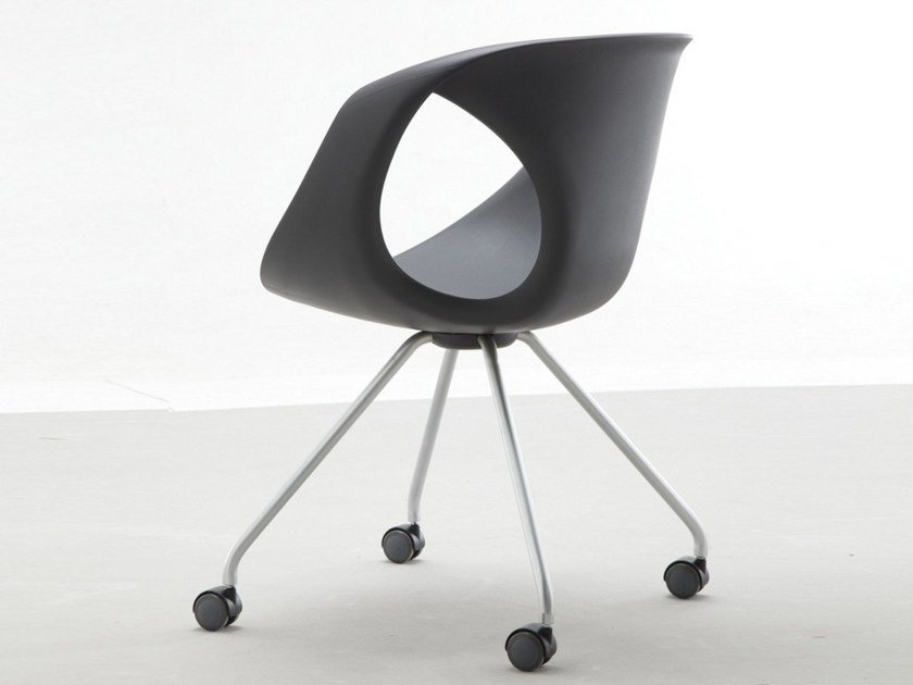 Polyurethane chair with casters UP CHAIR | Chair with casters by Tonon