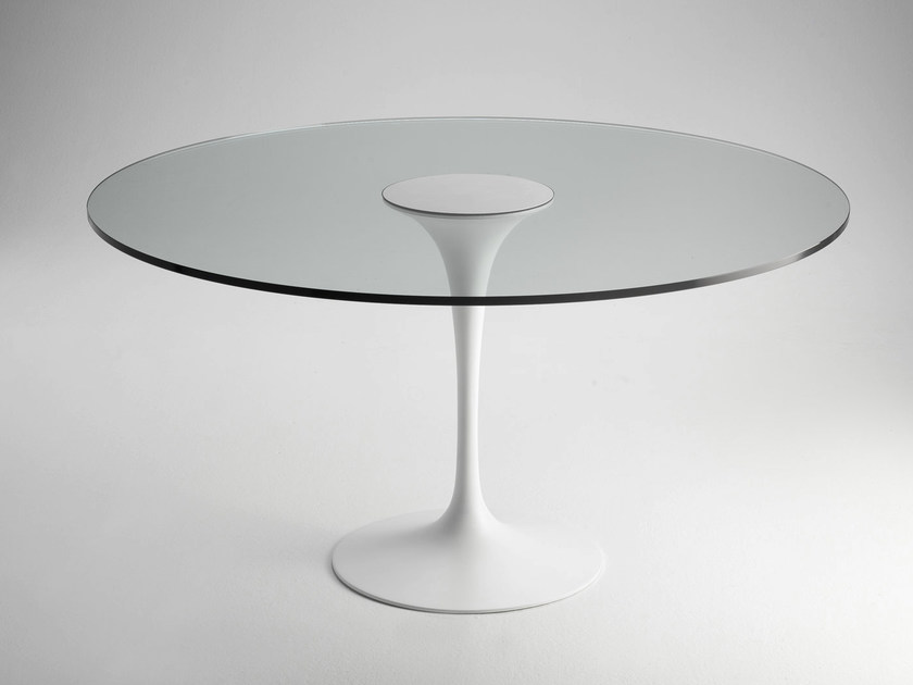 Round glass and aluminium coffee table SA59/1 | Round coffee table by Matrix International