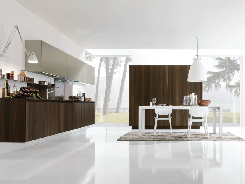 Wooden fitted kitchen with island ANTIS 13 - Euromobil