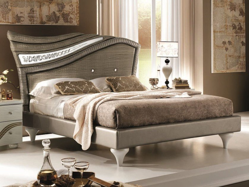 Classic style double bed with upholstered headboard MIRÒ | Bed - Arredoclassic