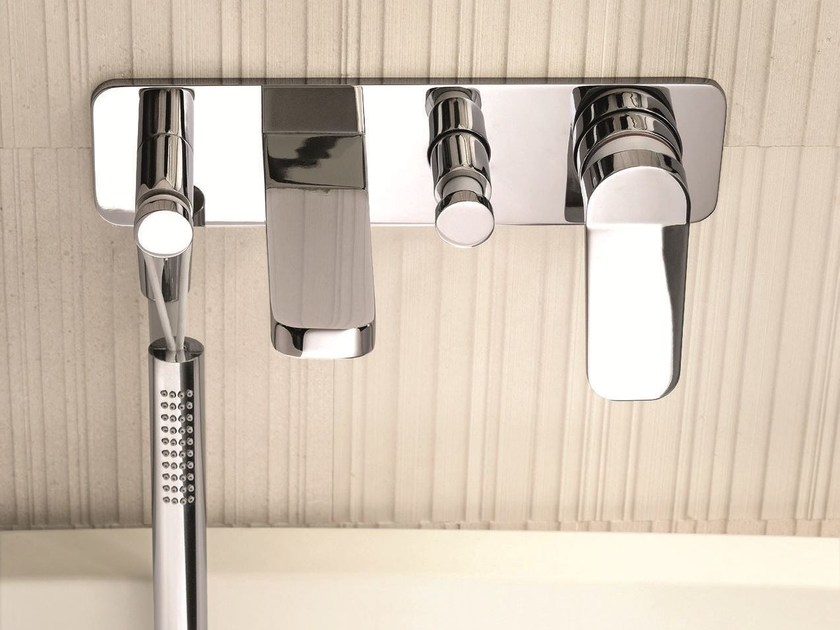 Wall-mounted bathtub mixer with hand shower LEVANTE | Wall-mounted bathtub mixer by Fantini Rubinetti