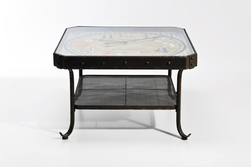Square steel coffee table antique clock low coffee table by kare design Coffee table with clock