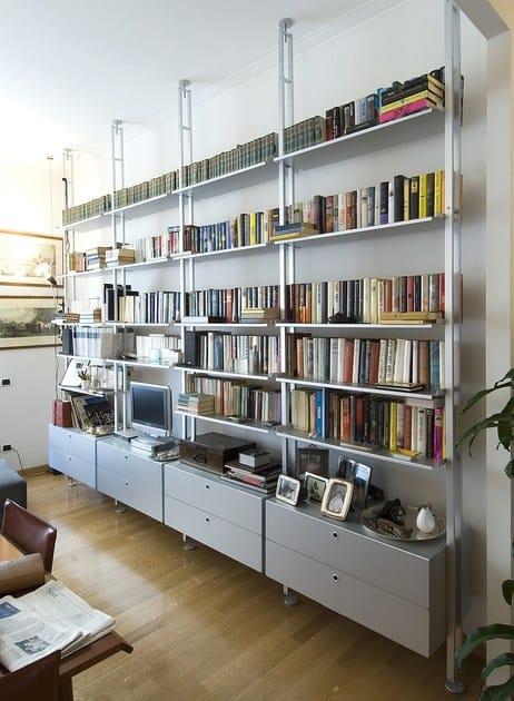 Scaffale bifacciale componibile in alluminio k2 libreria for Scaffale legno componibile