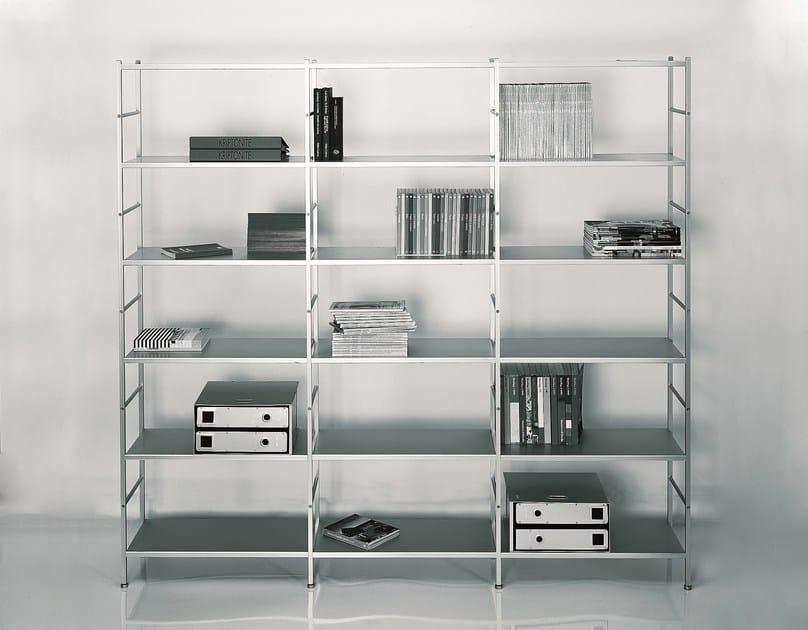 Freestanding sectional aluminium shelving unit K3 by KRIPTONITE