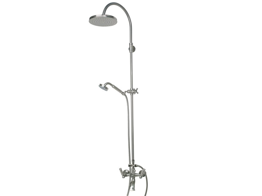 Wall-mounted bathtub set with overhead shower LIBERTY | Bathtub mixer with overhead shower - Bossini