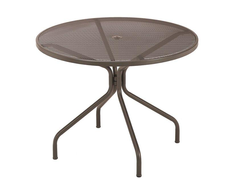 Gartentisch Holz Mit Loch FUr Sonnenschirm ~ Runder Gartentisch aus Stahl mit Loch für Sonnenschirm CAMBI  Runder