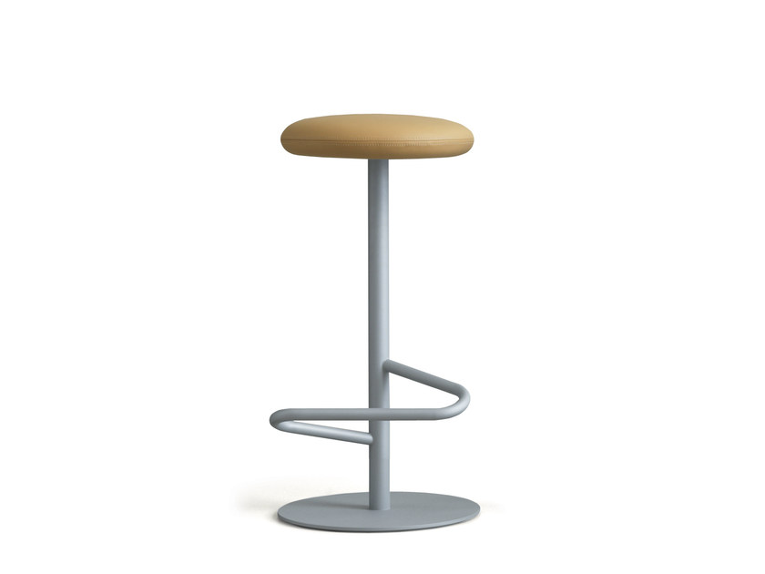 Upholstered leather barstool ODETTE | High stool - Massproductions