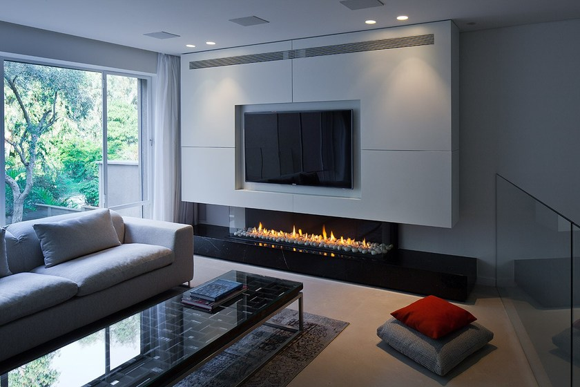 Contemporary style gas closed fireplace with remote control PANORAMA 130 by  BRITISH FIRES - Contemporary Style Gas Closed Fireplace With Remote Control