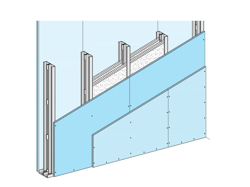 Fireproof panel for interior partition W115 by Knauf Italia