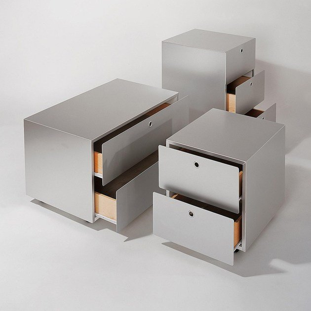 Free standing modular aluminium and wood chest of drawers CONTAINERS by KRIPTONITE