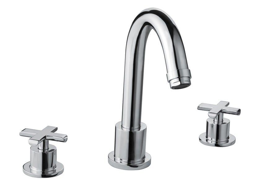 Design 3 hole chrome-plated brass washbasin mixer EXEDRA | 3 hole washbasin mixer - Bossini