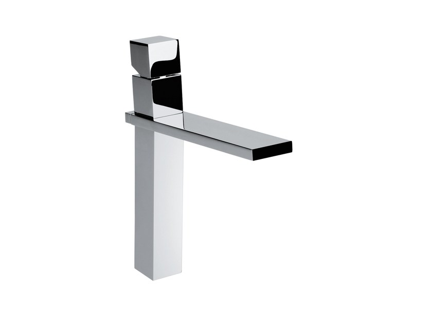 Design chrome-plated countertop single handle brass washbasin mixer CUBE | Washbasin mixer - Bossini
