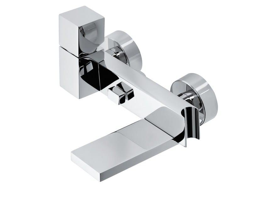 Design wall-mounted brass bathtub mixer with diverter CUBE | Bathtub mixer - Bossini