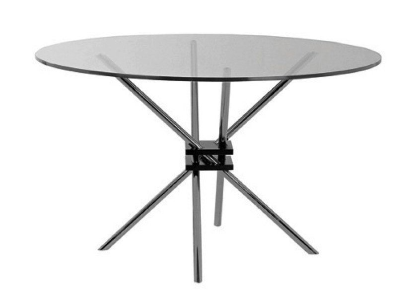 Round glass and steel table MZ59 | Table - Matrix International