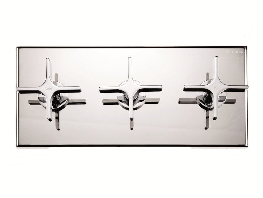 3 hole shower mixer with diverter with plate WATERBLADE   3 hole shower mixer by RITMONIO