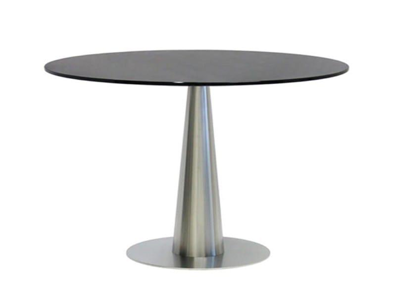 Round stainless steel table SLICONO - Vela Arredamenti