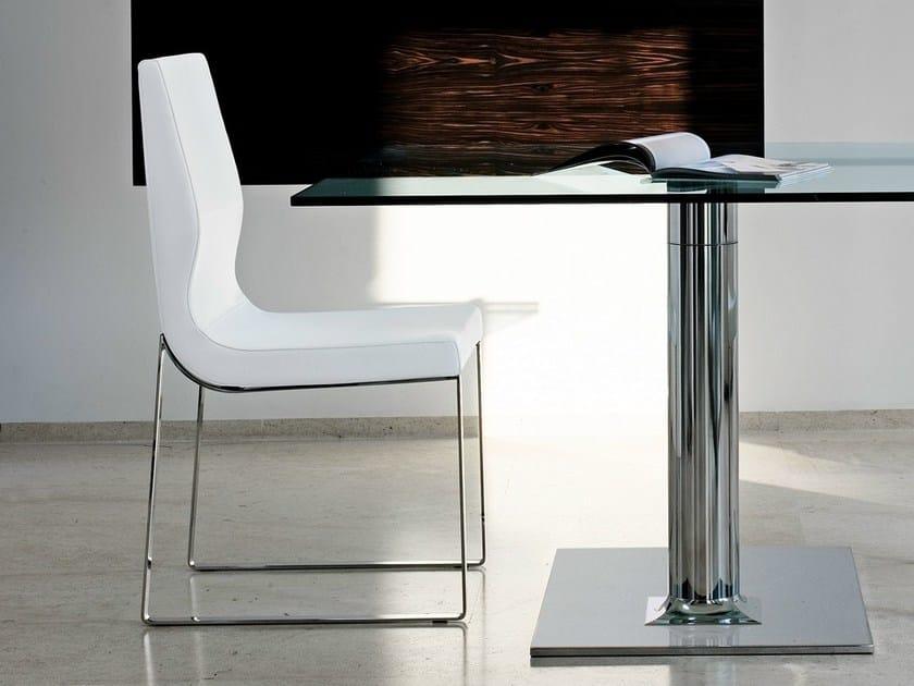 Sled base upholstered chair RAYA - Bonaldo