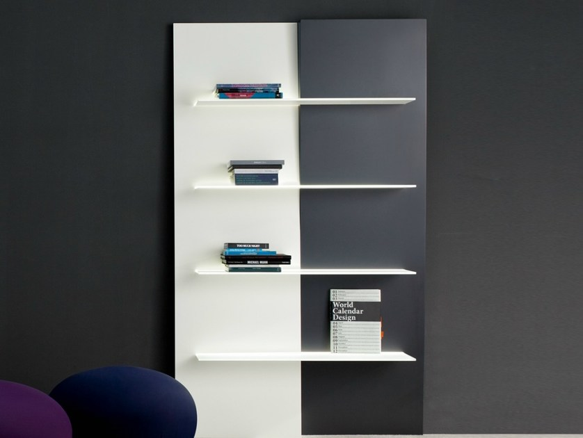 Wall-mounted lacquered bookcase with built-in lights UP AND DOWN LIGHT by Bonaldo