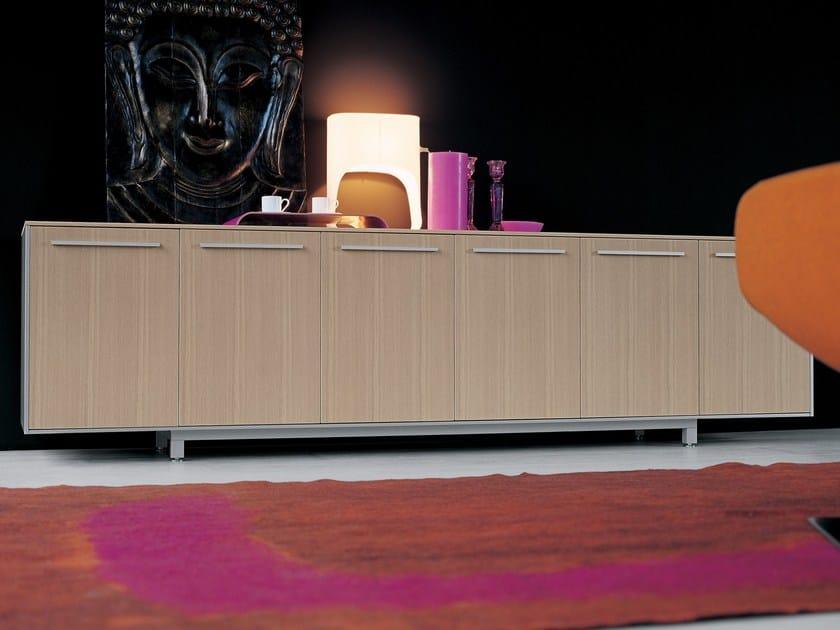 Wooden office drawer unit BIANCONERO CORIUM OAK | Office drawer unit - FANTONI
