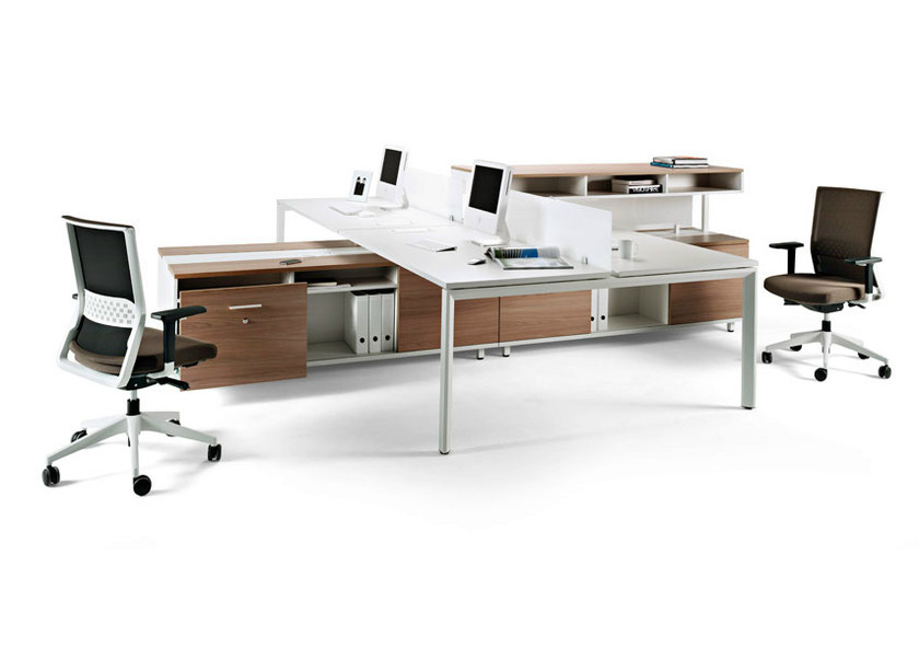 Sectional workstation desk with drawers VITAL PLUS SPINE by ACTIU