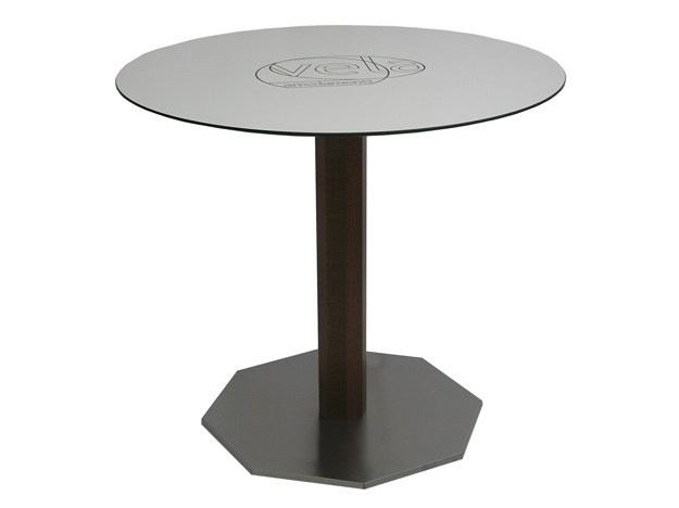 Round stainless steel contract table DIAMANTE - Vela Arredamenti
