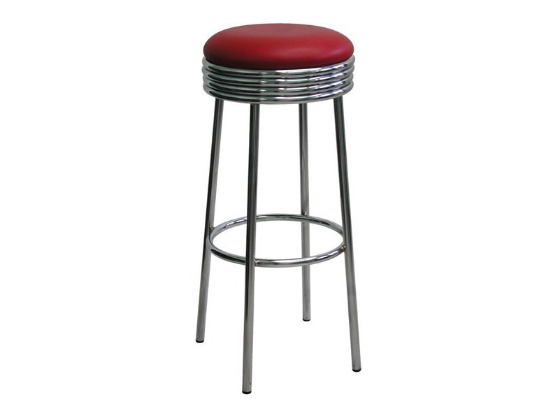 High upholstered chrome plated steel stool SG057CR | Stool by Vela Arredamenti